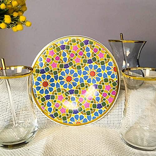 Juego de té con estampado de 12 piezas para 6 personas, platos de té de dibujo impreso, vasos dorados, vasos de paşabahçe