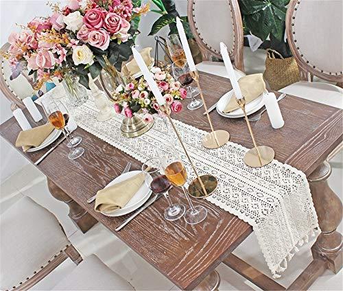 Nicole Knupfer Camino de mesa de macramé bohemio, hecho a mano, encaje de ganchillo, con borlas, para boda, mesa de centro bohemia, decoración artística (24 x 240 cm)