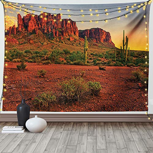 Ambesonne Saguaro Tapestry, Colorful Sunset View of The Desert and Mountains Near Phoenix Arizona USA, Wide Wall Hanging for Bedroom Living Room Dorm, 80' X 60', Yellow Green