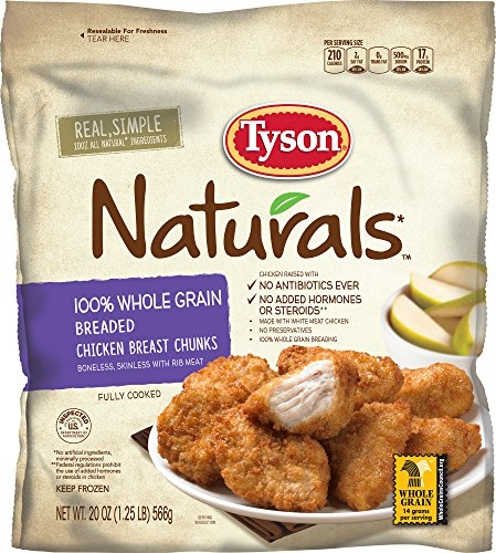 Tyson Naturals 100% Whole Grain Breaded Chicken Breast Chunks, 20 oz. (Frozen)