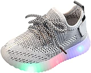 RYGHEWE Baby Toddler Girls Boys LED Luminous Mesh Running Shoes Sneakers Kids Soft Outdoor Sports Light Shoes