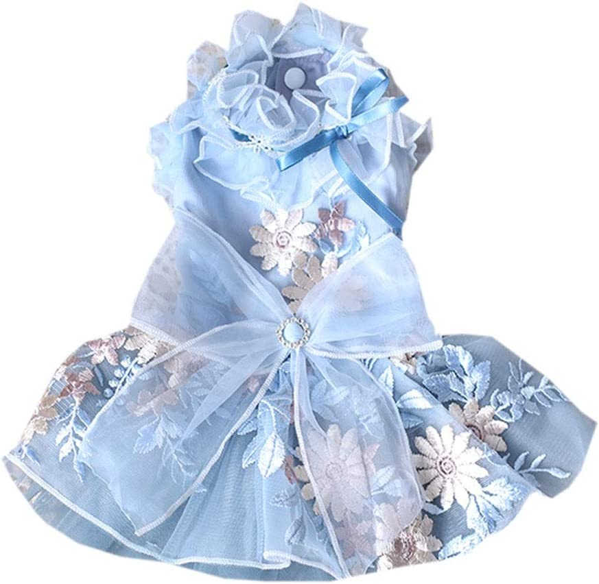 FEGOCLT Elegant Recommended Gray and Blue Pet Wedding Max 45% OFF Embroidery Dress Cats