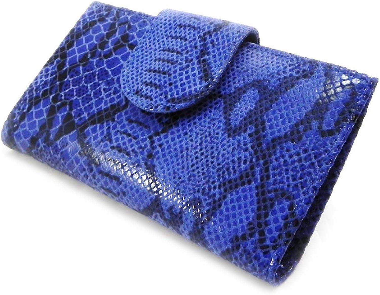 Leather checkbook holder 'Frandi' bluee python.