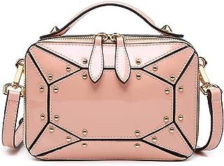 Fine Bag/Women's Handbag Mirror Rivet Small Square Bag Portable Shoulder Bag Fashion Messenger Bag Multi-Pocket Capacity (Color : Pink, Size : One Size)