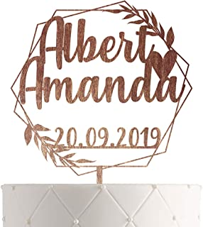 Personalized Wedding Cake Topper With Customized Bride and Groom Names and Marriage Date for Mr Mrs