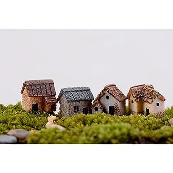 Cute Mini Resin House Miniature House Fairy Garden Micro Landscape Home Garden D