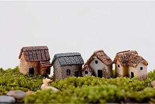 WINOMO 4PCS Miniature Gardening Landscape Micro Village Stone Houses Thumbnail House Thatched Huts DIY Bonsai Terrarium Cr...
