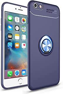 HXAYR iPhone 6s Plus/6 Plus Case, Slim Thin [Kickstand] Soft Flexible TPU Back Cover with Rotating Ring Grip Holder Stand Case [Compatible with Magnetic Car Mount] for iPhone 6 Plus/6s Plus - Blue