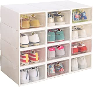 IRONLAND Clear Plastic 12 Pack Stackable Storage Shoe Box White