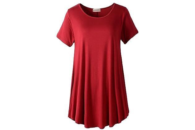 3065c2c3003 LARACE Women Short Sleeves Flare Tunic Tops for Leggings Flowy Shirt