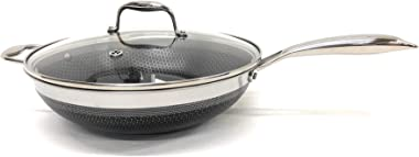 HexClad 12 Inch Wok, Hybrid Stainless/Nonstick Inside and Outside Cookware, Commercial Bundle With Lid