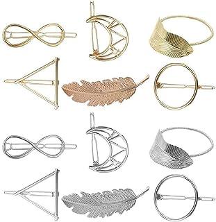 Lurrose Hollow Hair Clips Geometric Hair Pins Girls Triangle Leaf Hair Barrettes Accessories 12pcs