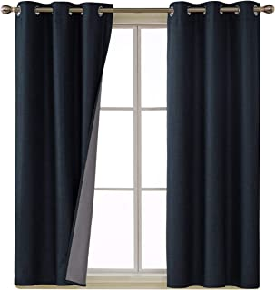 Deconovo 100 Percent Blackout Curtains with 3 Pass Energy Efficient Thermal Insulated Coating Faux Linen Room Darkening Curtains for Dining Room 38 x 63 Inch Long Set of 2 Curtain Panels Navy Blue