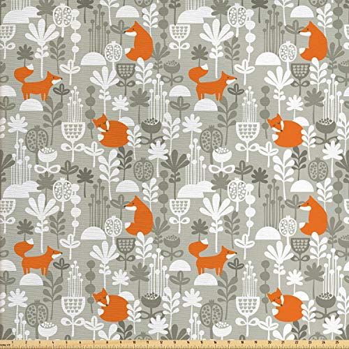 Ambesonne Fox Fabric by The Yard, Small Animals of The European Forests Doodle Style Floral Arrangement, Decorative Fabric for Upholstery and Home Accents, 1 Yard, Orange White