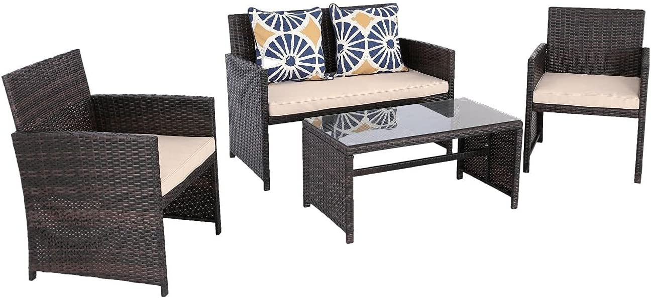Bombing new work Do4U 4 Pcs Patio Furniture Sets Max 52% OFF Sofa Table Rattan PE Pat Chairs