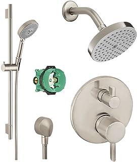 Hansgrohe KSH04447-27486-66BN-2 Raindance Shower Faucet Kit with Handshower, Wallbar, PBV Trim with Diverter & Rough, Brus...