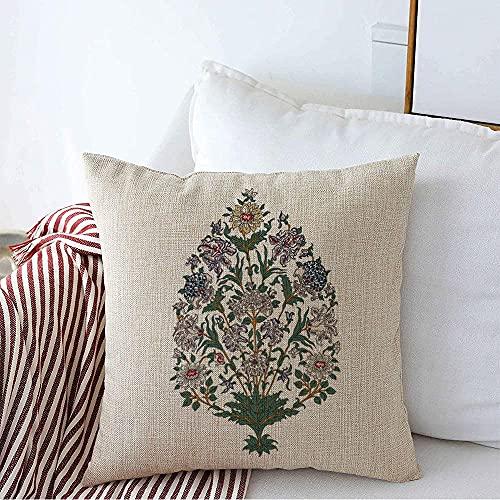 Farmhouse Funda de Almohada Decorativa Cuadrada Funda de Almohada Vintage Jaipur Ikat Madera Tatuaje Textura Estilo Crisantemo Bloque India Encaje Diseño Floral Sello Funda de cojín para sof