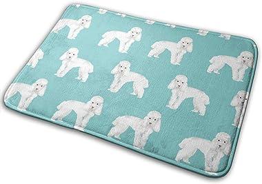 Toy Poodle Dog Pattern Dog Teal_17096 Doormat Entrance Mat Floor Mat Rug Indoor/Outdoor/Front Door/Bathroom Mats Rubber Non S