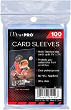 Ultra Pro 100 Pcs Soft Card Sleeves, 2 5/8 x 3 5/8-Inches Pack of 1 (Package may vary)