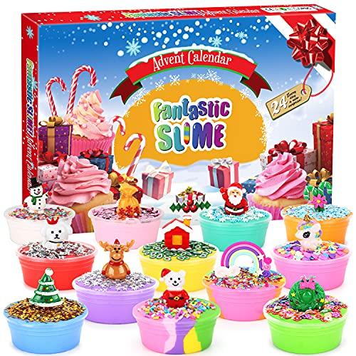 Ylovetoys Advent Calendar 2021 Christmas Countdown Calendars 24 Days DIY Fluffy Slime Kit for Kids Surprise Gift Toys for Toddler Kids Teens Girls