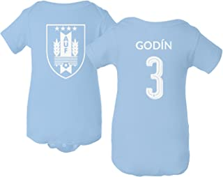 Tcamp Uruguay 2018 National Soccer #3 Diego GODIN World Championship Little Infant Baby Short Sleeve Bodysuit