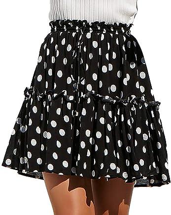 7f3d2020406 Gyouanime Teen Womens Short Skirts Dress Polka Dot Print Ruffles A-Line  Pleated Lace Up