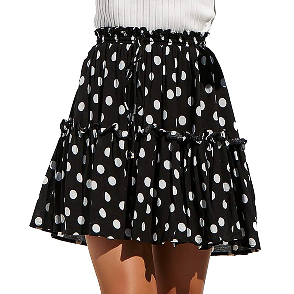 Claystyle Mini Skirt Fashion Women Casual Polka Dot Print Ruffles A-Line Skirt Pleated Lace Up Short Skirt