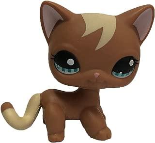 Meetsunshine LPS Figure Toy,Rare Littlest Pet Shop Short Hair Cat Heart Face Cat Brown