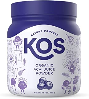 KOS Organic Açaí Juice Powder - Natural Antioxidant Superfood Açaí Juice Powder - Polyphenol Abundant, Anti-Aging, USDA Or...