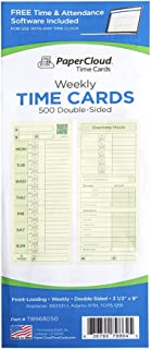 """PaperCloud Time Cards, Weekly 2-Sided, compares with 830331-1, 1291,3.5 x 9"""", 500 Count. Includes Free Software"""