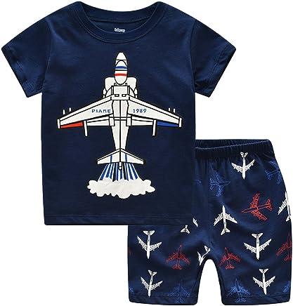 928fc588037 Little Boys Pajamas Shorts Set for Toddler Summer Clothes Trian Dinosaur  Sleepwear Cotton 2 Piece Kids