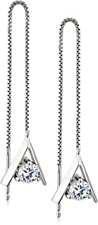 Rhodium Plated 925 Sterling Silver Cubic Zirconia (CZ) Triangle Shape Long Threader Dangle Earrings