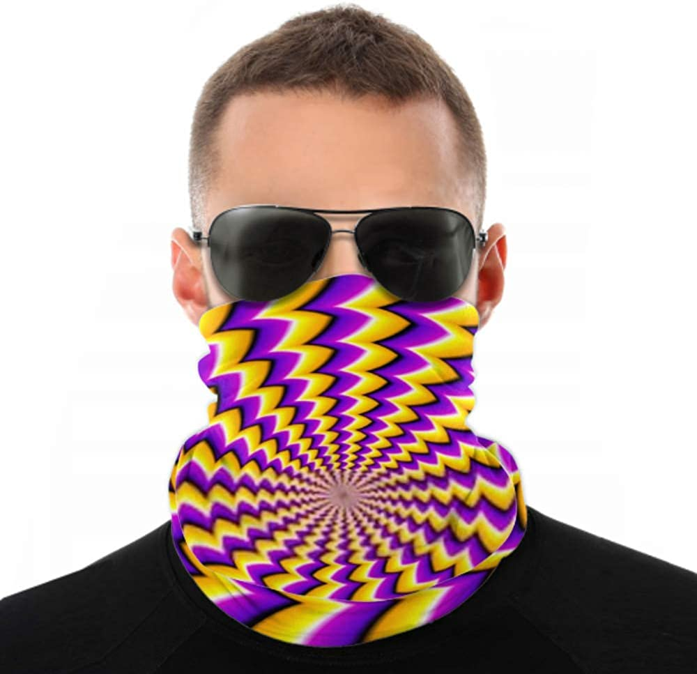 Headbands For Men Women Neck Gaiter, Face Mask, Headband, Scarf Abstract Yellow Background Spin Illusion Turban Multi Scarf Double Sided Print Hair Wrap For Sport Outdoor