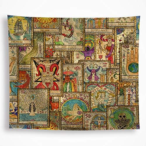 Tarot-Flagge, Wandbehang, mysteriöse Wahrsagung, Tarotkarte, Wandkunst, Hippie, der Teufel, Stern, Narren, Wanddecke, Dekoration für Schlafsaal, Schlafzimmer, Picknick, Hochzeit, 149.9 x 209.8 cm