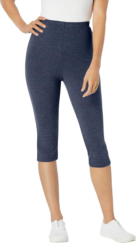 Woman Within Women's Plus Size Stretch Cotton Capri Legging