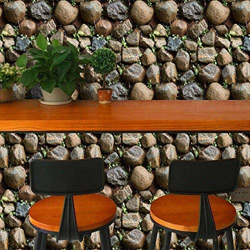 Faux Realistic Rock Stone Wallpaper Grass Peel and Stick PVC Removable 3D Wall Paper , 32.8 Ft X 17.9 inch