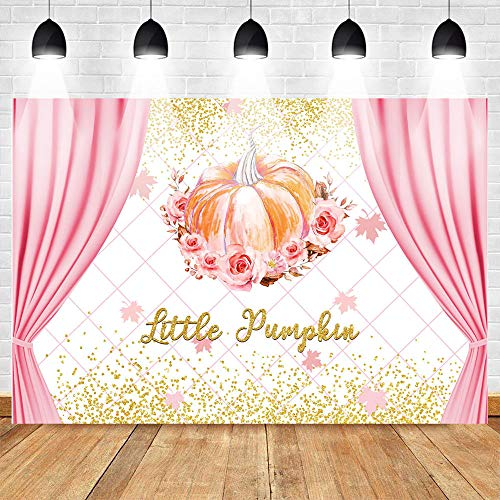 Little Pumpkin Background Newborn Baby Shower Glitter Rose Backdrops C