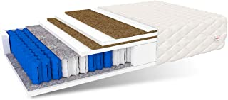 FDM Crete-Colchón de muelles ensacados (90 x 200 cm, 7 Zonas, dureza H5/H3, 2 Espuma de Poliuretano Coco, 27 cm de Alto)