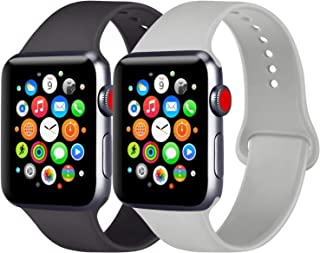 [2 Pack] Sport Bands Compatible with Apple Watch Band 38mm 42mm 40mm 44mm, Soft Silicone Replacement Sport Wristband Strap for iWatch Series 5/4/3/2/1