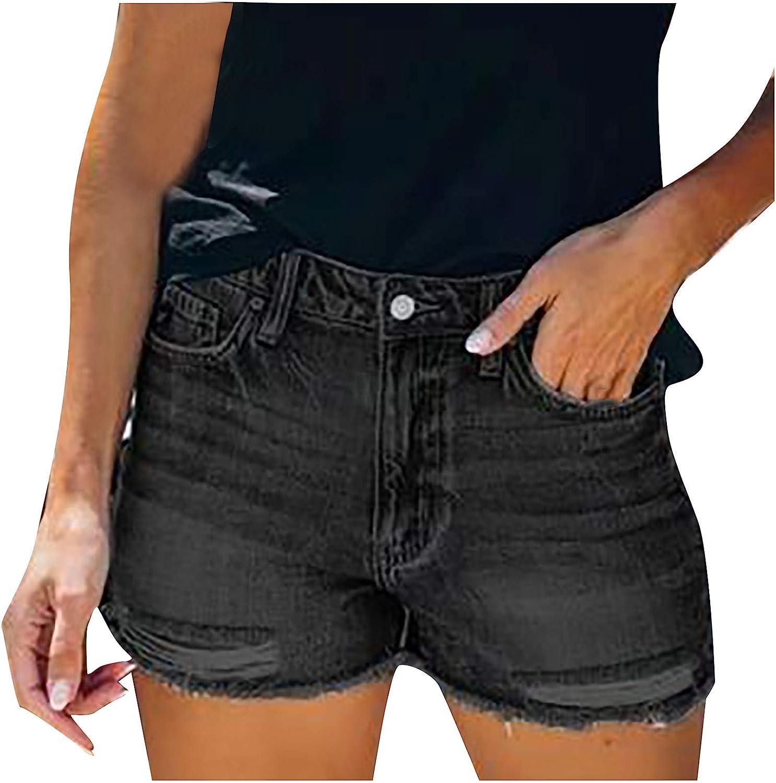 HUOJING Ripped Denim Shorts for Women Slim High Waist Hole Jean Shorts Pockets Solid Summer Mini Hot Pants