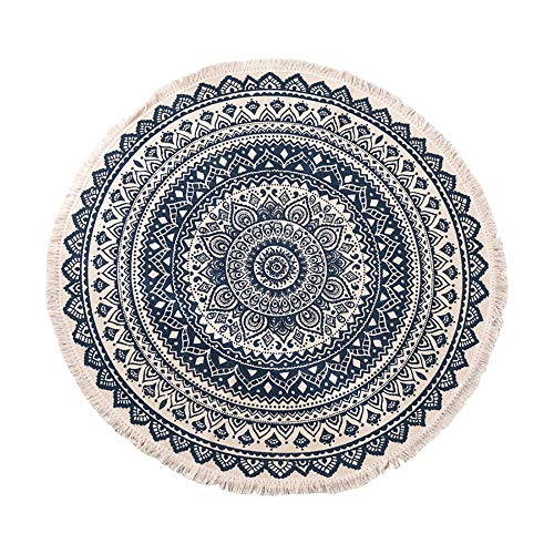 Small Round Rug with Tassels Hand Woven Bohemian Area Rug Washable Cotton Rug Boho Rug Mini Circle Carpet 24 Inch