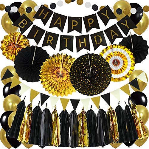 Zerodeco Birthday Party Decoration, Black Happy Birthday Banner with Paper Fans Garland String Triangle Bunting Flag Tissue Tassel and Balloon for Bday Party Supplies Anniversary Decoration