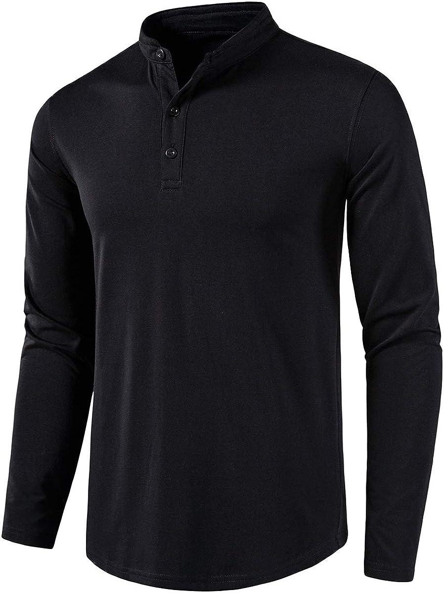 Spasm price Hongqizo Men Solid Long Sleeve Henley R Shirt Las Vegas Mall Up Button Shirts T