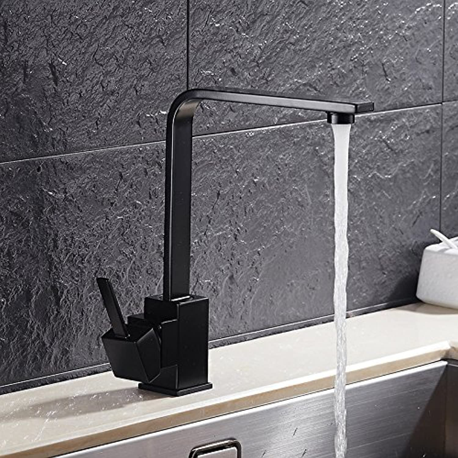 redOOY Faucet Taps Faucet Square Flat Tube Kitchen Faucet Sink Basin Above Counter Basin Hot And Cold Mixing Faucet Square Flat Tube redating Water