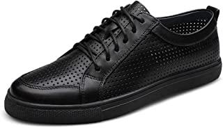 ZUAN Fashion Sneaker for Men Flat Athletic Sports Shoes Lace up Echt Leather Vacuous out Perforated
