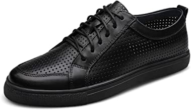 MYHYZZ-Athletic Shoes Fashion Sneaker for Men Flat Athletic Sports Shoes Lace up Genuine Leather Hollow Out Perforated Men's Casual Shoes