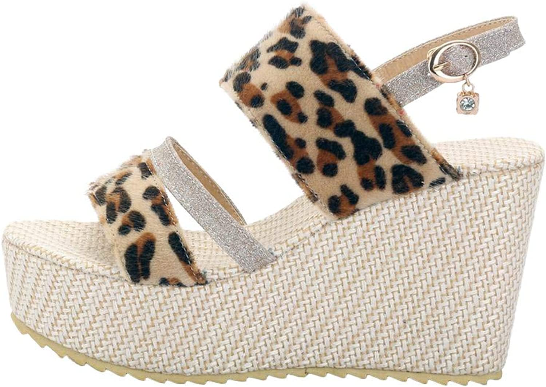 Ghssheh Women's Leopard Print Open Toe Wedges Platform Sandal Beige Purple 7.5 M US