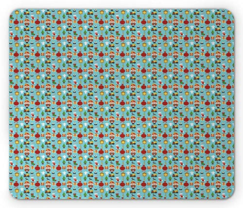 Büro Mausmatte,Spiel Mauspad,Mousepads Für Computer,Matte Mit Genähten Kanten,Christmas Mouse Pad,Frohe Wintermuster Mit Geschenkboxen Nussknacker Strümpfe Bäume Und Süßigkeiten Mousepad,Aqua Multic