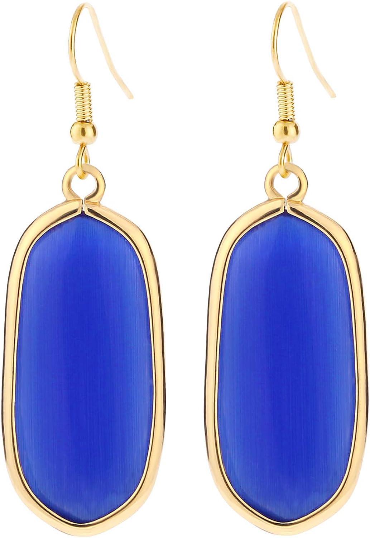 BaubleStar Natural Crystal Healing Stone Drop Dangle Earrings for Women Girls
