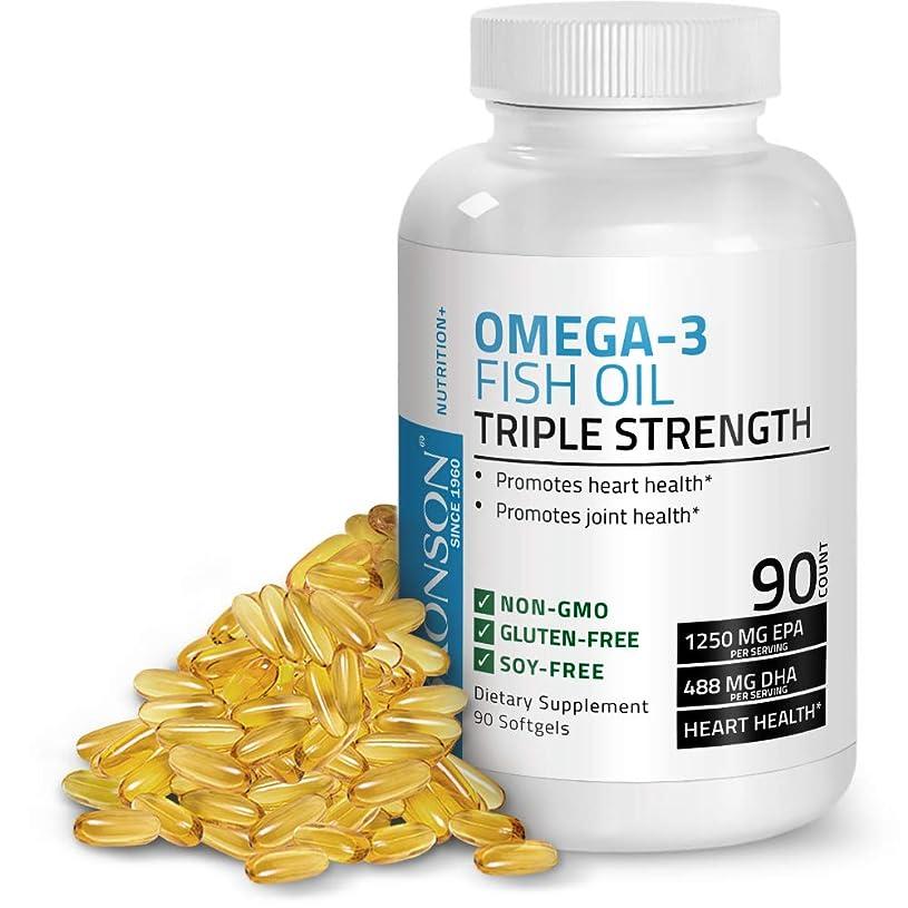 ワットファンブル猛烈なBronson オメガ3フィッシュオイルトリプルストレングス2720 Mg Gmoなし、グルテンなし、大豆なし、ヘビーメタルテスト済み 1250 Epa 488 Dha、90ソフトジェル